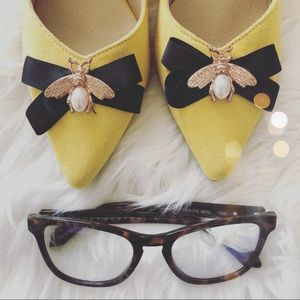 Shoes - Yellow Pointed Buckle Deco Bee Heels Size 41
